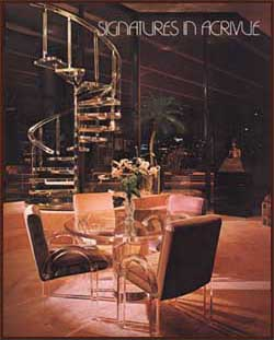 Acrylic Spiral Staircase,  Le Dome Dinning Table,  JC-515 Acrylic Arm Chairs.